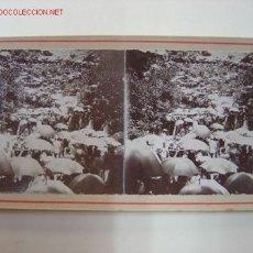 Fotografía antigua: AGRES (ALICANTE) - ROMERIA. CAMPAMENTO DE SOMBRILLAS. Lote 26835547