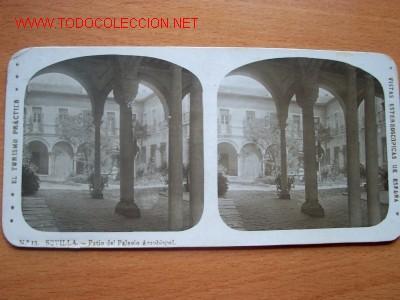Nº 13 SEVILLA - PATIO DEL PALACIO ARZOBISPAL ( EL TURISMO PRACTICO ) (Fotografía Antigua - Estereoscópicas)