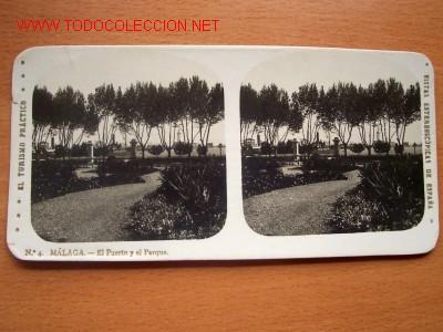 Nº 4 MÁLAGA - EL PUERTO Y EL PARQUE (Fotografía Antigua - Estereoscópicas)
