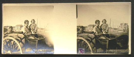 SANTOÑA. RETRATO EN UN CARROMATO. CIRCA 1920 - SANTANDER (Fotografía Antigua - Estereoscópicas)