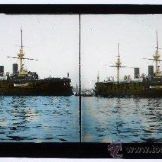 Fotografía antigua: BARCELONA. PUERTO Y BARCO. 1888 APROX. FOTO: LEON LEVI. DOBLE CRISTAL ESTEREO COLOREADO. 17 X 8,3 CM. Lote 15006769