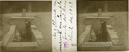 PAMPLONA - FUENTE DEL HIERRO - AÑO 1928 - CRISTAL POSITIVO (Fotografía Antigua - Estereoscópicas)