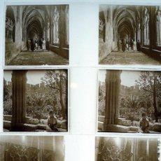 Fotografía antigua: SANTES CREUS, TARRAGONA. 1915'S APROX. 4 CRISTALES ESTEREO POSITIVOS 10,4X4,3 CM.. Lote 15602508