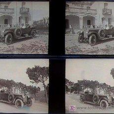 Fotografía antigua: COCHES ANTIGUOS, BARCELONA. 1920'S. 2 CRISTALES NEGATIVOS ESTEREO 10,4X4,3 CM.. Lote 13219075