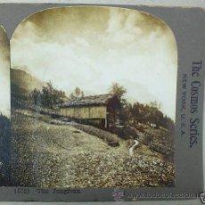 Fotografía antigua: ANTIGUA FOTOGRAFÍA ESTEREOSCÓPICA DE LOS ALPES BERNESES, EL PICO JUNGFRAU (EN ALEMAN VIRGEN) SUIZA . Lote 27046885