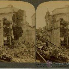 Fotografía antigua: FOTOGRAFÍA ESTEREOSCOPICA 1909, RUINAS DE LA IGLESIA LAS ALMAS DE PURGATORIO MESSINA SICILIA ITALIA. Lote 27046888