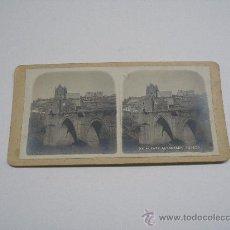 Fotografía antigua: FOTOGRAFÍA ESTEREOSCÓPICA PUENTE DE ALCÁNTARA . TOLEDO . . Lote 15846867