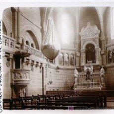 Fotografía antigua: JAVIER, NAVARRA, INTERIOR DE LA BASÍLICA, 1915'S. CRISTAL POSITIVO ESTEREO 6X13 CM.. Lote 18067024