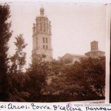 Fotografía antigua: LOS ARCOS, NAVARRA. TORRE DE LA IGLESIA, 1915'S. CRISTAL POSITIVO ESTEREO 6X13 CM.. Lote 18475545