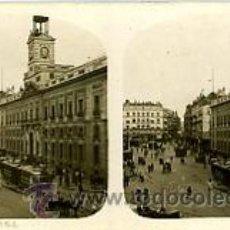 Fotografía antigua: FOTOGRAFIA ESTEREOSCOPICA. MADRID PUERTA DEL SOL. Lote 27629788