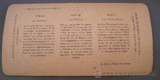 Fotografía antigua: vistas estereoscopicas de españa: nº10, murcia - el mercado (casa editorial alberto martin) - Foto 2 - 27506627