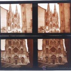 Fotografía antigua: BURGOS, LA CATEDRAL. 2 CRISTALES ESTEREO POSITIVOS 6X13 CM.. Lote 21655958