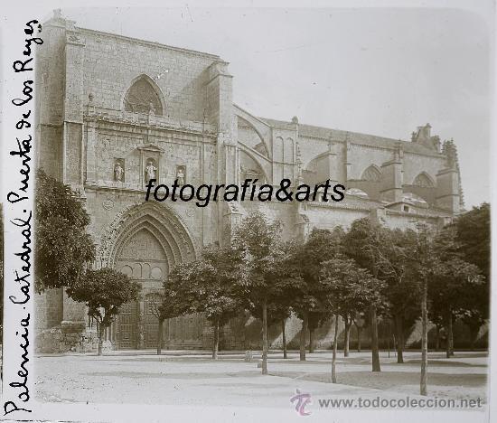 PALENCIA, PUERTA DE LOS REYES DE LA CATEDRAL, 1915'S. CRISTAL POSITIVO ESTEREO 6X13 CM. FXP (Fotografía Antigua - Estereoscópicas)