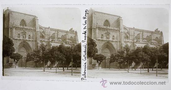 Fotografía antigua: PALENCIA, puerta de los reyes de la catedral, 1915s. cristal positivo estereo 6x13 cm. FXP - Foto 2 - 22705481