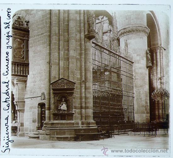 SIGÜENZA, PROV. DE GUADALAJARA, CATEDRAL, 1915'S. CRISTAL POSITIVO ESTEREO 6X13 CM. FXP (Fotografía Antigua - Estereoscópicas)