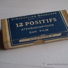 Fotografía antigua: LOTE 12 FOTOGRAFIAS ESTEREOSCOPICAS BRUGUIERE EN SU CAJA ORIGINAL LOURDES 2. Lote 26945871