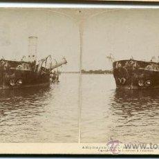 Fotografía antigua: EL BUQUE DE GUERRA REINA CRISTINA DESTRUIDO EN LA BAHIA DE MANILA GUERRA FILIPINAS 1899 ORIGINAL. Lote 24118967
