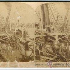 Fotografía antigua: EL BUQUE ESPAÑOL DE GUERRA REINA MERCEDES DESTRUIDO EN SANTIAGO. GUERRA DE CUBA 1899 ORIGINAL. Lote 24119485