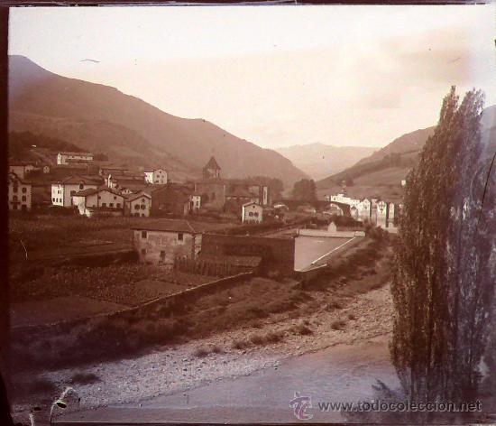 ESPAÑA, PUEBLO POR IDENTIFICAR, 1915'S. CRISTAL NEGATIVO ESTEREO 10,4 X 4,3 CM. (Fotografía Antigua - Estereoscópicas)