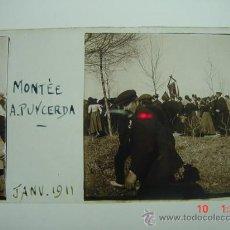 Fotografía antigua: 1 PUIGCERDA GIRONA PROCESION AÑO 1911 PRECIOSA CRISTAL ESTEREOSCOPICO MIRA OTROS SIMILARES. Lote 26246098