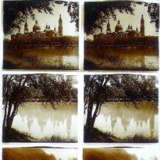 Fotografía antigua: ZARAGOZA, 1920'S. 3 CRISTALES POSITIVOS ESTEREO 6X13 CM.. Lote 111219499