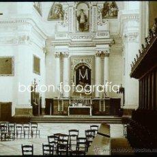 Fotografía antigua: MALLORCA, VALLDEMOSA, INTERIOR IGLESIA, 1915. FOTO: SALVANY-NONELL.CRISTAL POSITIVO ESTEREO 6X13 CM.. Lote 29076313