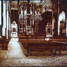 Fotografía antigua: MALLORCA, SÓLLER. INTERIOR IGLESIA, 1915. FOTO: SALVANY-NONELL. CRISTAL POSITIVO ESTEREO 6X13 CM.. Lote 29104795