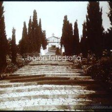 Fotografía antigua: MALLORCA, POLLENSA. IGLESIA DEL CALVARIO, 1915. FOTO: SALVANY-NONELL. CRISTAL POSITIVO ESTEREO 6X13. Lote 29104811