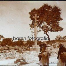 Fotografía antigua: FELANITX, CRUZ DE CALVARIO, MALLORCA, 1915. FOTO: SALVANY - NONELL. CRISTAL POSITIVO ESTEREO 6X13 CM. Lote 29191308