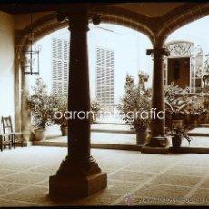 Fotografía antigua: MALLORCA, POLLENSA, PATIO PARTICULAR, 1915. FOTO: SALVANY - NONELL. CRISTAL POSITIVO ESTEREO 6X13 CM. Lote 29191473