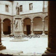 Fotografía antigua: PALMA DE MALLORCA, ESTATUA RAMON LLULL 1915. FOTO: SALVANY-NONELL. CRISTAL POSITIVO ESTEREO 6X13 CM.. Lote 29198647