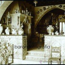 Fotografía antigua: SITGES, MUSEO DEL CAU FERRAT, 1915'S. CRISTAL POSITIVO ESTEREO 6X13 CM.. Lote 29198787