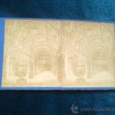 Fotografía antigua: VISTA ESTEREOSCOPICA LAURENT S. XIX BIBLIOTECA DEL ESCORIAL MADRID. Lote 29385908