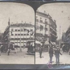 Fotografía antigua: MADRID.- FOTOGRAFÍA ESTEREOSCOPICA DE LA PUERTA DEL SOL. Lote 29974211