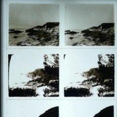 Fotografía antigua: LLORET, TOSSA, 4 CRISTALES ESTEREO POSITIVOS 6X13 CM.. Lote 30178599