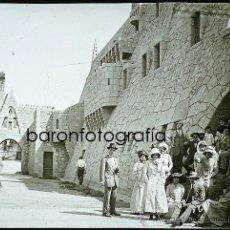 Fotografía antigua: GARRAF, SITGES. CAN GÜELL, 1911. CRISTAL POSITIVO ESTEREO 6X13 CM. Lote 31153823