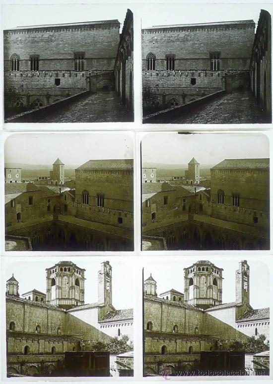 MONASTERIO DE POBLET, TARRAGONA, 1912'S. 3 CRISTALES ESTEREO POSITIVOS 6X13 CM. FXP (Fotografía Antigua - Estereoscópicas)