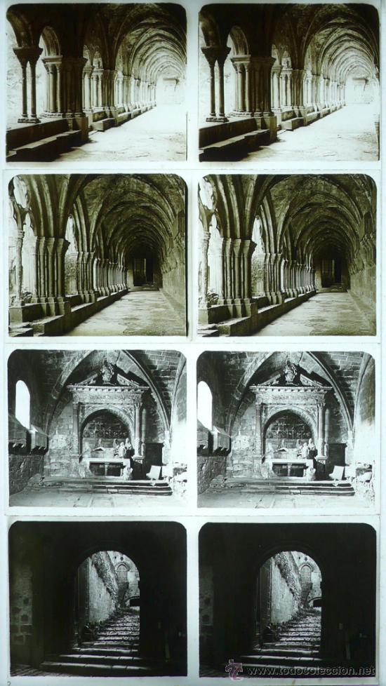 MONASTERIO DE POBLET, TARRAGONA, 1912'S. 4 CRISTALES ESTEREO POSITIVOS 6X13 CM. FXP (Fotografía Antigua - Estereoscópicas)