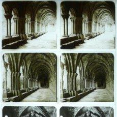 Fotografía antigua: MONASTERIO DE POBLET, TARRAGONA, 1912'S. 4 CRISTALES ESTEREO POSITIVOS 6X13 CM. FXP. Lote 31156264
