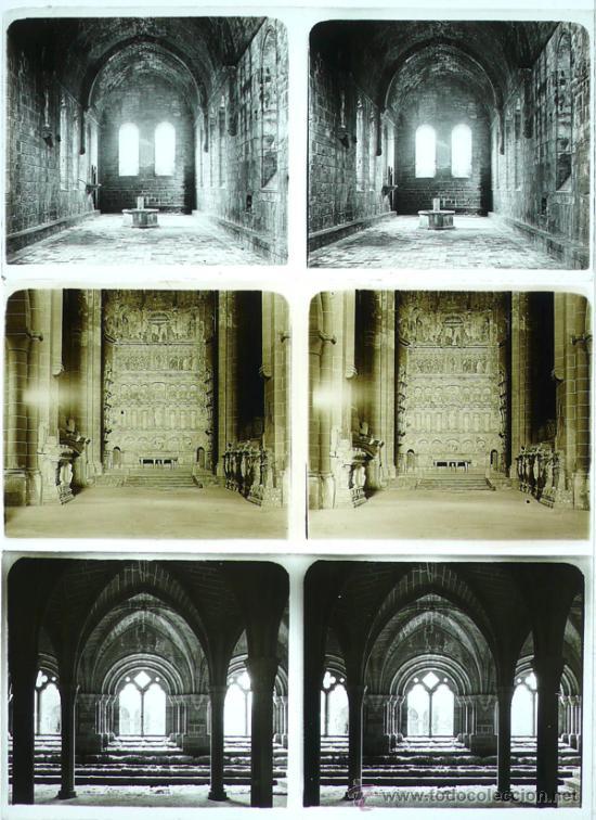 MONASTERIO DE POBLET, TARRAGONA, 1912'S. 3 CRISTALES ESTEREO POSITIVOS 6X13 CM. (Fotografía Antigua - Estereoscópicas)