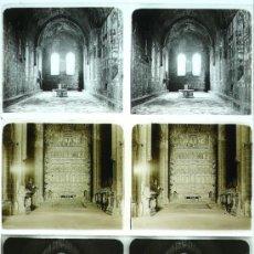 Fotografía antigua: MONASTERIO DE POBLET, TARRAGONA, 1912'S. 3 CRISTALES ESTEREO POSITIVOS 6X13 CM.. Lote 31156286