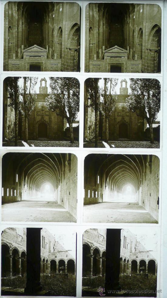 MONASTERIO DE POBLET, TARRAGONA, 1912'S. 4 CRISTALES ESTEREO POSITIVOS 6X13 CM. (Fotografía Antigua - Estereoscópicas)