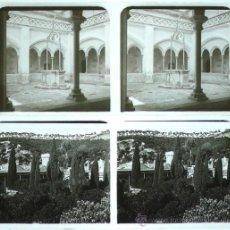 Fotografía antigua: TIANA, MONASTERIO DE MONTALEGRE, 1912'S. 2 CRISTALES POSITIVOS ESTEREO 6X13 CM. FXP. Lote 31156344