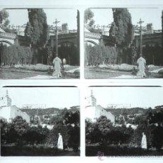 Fotografía antigua: TIANA, MONASTERIO DE MONTALEGRE, 1912'S. 2 CRISTALES POSITIVOS ESTEREO 6X13 CM. FXP. Lote 31156351