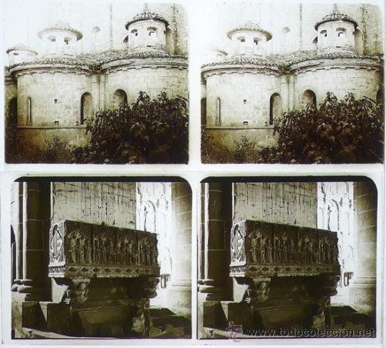 POBLET, VIMBODÍ. MONESTIR DE POBLET,1912'S. 2 CRISTALES POSITIVOS ESTEREO 6X13 CM (Fotografía Antigua - Estereoscópicas)