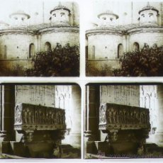 Fotografía antigua: POBLET, VIMBODÍ. MONESTIR DE POBLET,1912'S. 2 CRISTALES POSITIVOS ESTEREO 6X13 CM. Lote 31168279