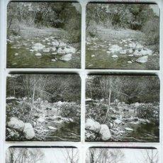 Fotografía antigua: HOSTALRIC, RIERA D'ARBUCIES, 1912'S. 4 CRISTALES POSITIVOS ESTEREO 6X13 CM. FXP. Lote 31180730