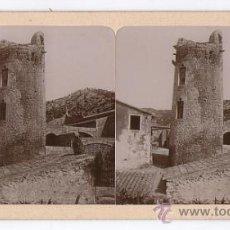 Fotografía antigua: GARRAF, 40. ALBÚMINA ESTEREOSCÓPICA CON VISTA DE TORRE DE GUAITA. 18X9 CM. Lote 32081982