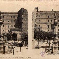 Fotografía antigua: ESTEREOSCÓPICA DE MONTSERRAT, BARCELONA, MONUMENTO A LA INMACULADA, COLECCIÓN A. MARTÍN. Lote 32125432