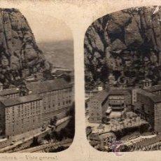 Fotografía antigua: ESTEREOSCÓPICA DE MONTSERRAT, BARCELONA, VISTA GENERAL, COLECCIÓN A. MARTÍN. Lote 32125626
